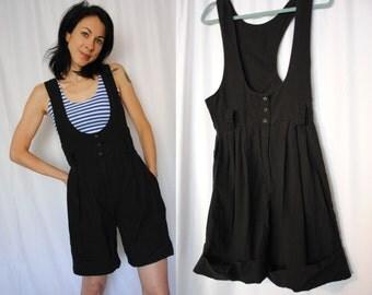 80s vintage culottes coolots romper pleated suspenders jumpsuit