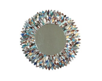 White, light blue, and tan leather feather mirror, bathroom mirror, bathroom mirrors, large mirror, decorative mirror, circle mirror, vanity