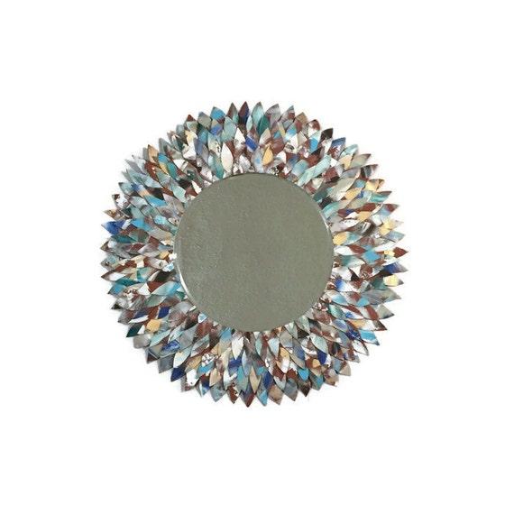 Blanc miroir de plume en cuir bleu et beige clair miroir for Miroir plume