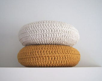 Set of 2. Crochet pillow. Crochet Round pillow. Crochet cushion. Coussin crochet. Cojin ganchillo. Crochet home decor. Nursery decor