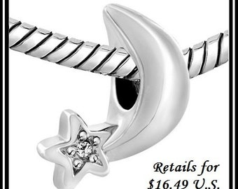 Beautiful ~ Silver STaR with Cz attached to MOON - Excellent Quality - Authentic Charm Bead - fits European Bracelets - PUG-SC