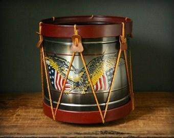 Vintage Americana drum  Waste paper basket, metal waste paper basket, metal drum