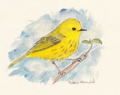 Yellow Warbler 5x7 Pen and Ink and Watercolor, Painting, Bird,warbler painting,Nature,Bird Art,Wildlife,Animal,Not a Print,Warbler