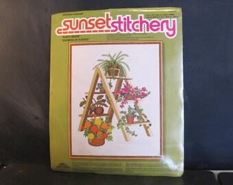 """Vintage 1970's Unused Sunset Embroidery Crewel Stitchery Kit-16"""" x 20""""-Plant Ladder Flowers"""