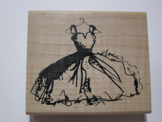 Inkadinkado wood mounted rubber stamp wedding prom gown for Wedding dress rubber stamp