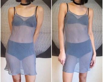 Grey Sheer Slip Dress
