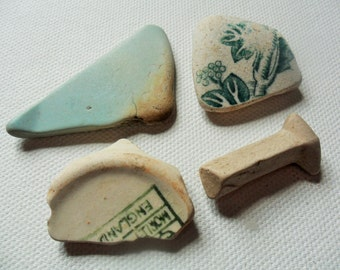 Green & cream sea pottery mix - 4 lovely English beach find pieces