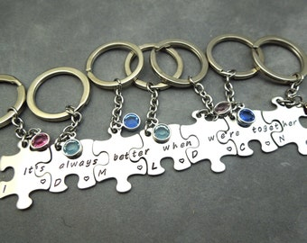 Its always better when were together, personalized puzzle pieces keychain set of 7, hand stamped stainless steel, best frie