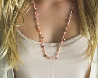 Pink and Copper Toned Crochet Beaded Wrap Necklace and Earring Set- Vintage Cottage Boho Inspired Necklace - Crystal Pretty Pink Necklace