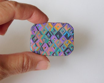 Large colorful  polymer clay button, decorative geometric sewing button