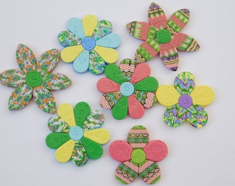 Polymer Clay Refrigerator Magnets, colorful flower magnets, set of 7