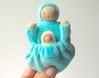 Pocket mama doll, aqua, natural fiber,  waldorf tooth fairy doll