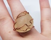 OOAK Copper Wire Wrapped Stone Sized 8 Statement Ring