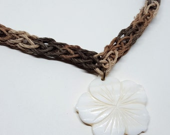 "OOAK 19"" Crocheted Hemp Necklace with White Shell Flower Pendant"