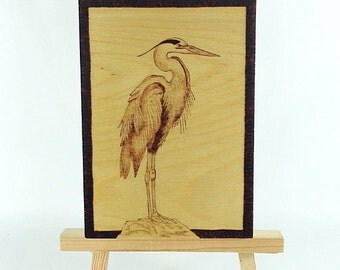 Heron - Wood Pyrography - Wall Art - Bkinspired