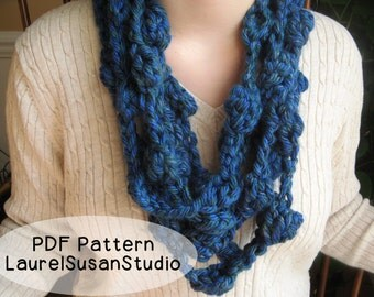 Skinny Scarf Crochet Bobble Yarn Necklace Pattern PDF Digital Easy Fast Project Chunky