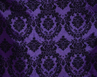 Damask taffeta velvet flocked purple dress home decor apparel curtains by the yard