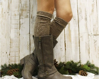 Boot socks tall boot socks knit boot socks womens socks tweed socks leg warmers tall socks ALPINE ADORE Brown Catherine Cole Studio BKS0