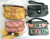 Assorted Vintage Dooney & Bourke Wristlets, Pink, Yellow, Charcoal, Multicolor