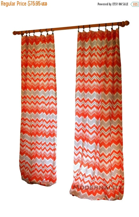 Sale Clearance Chevron Curtains Pair Of Drapery By