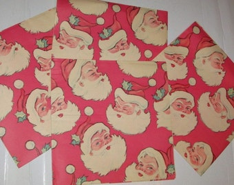 Vintage 60s Santa Claus Christmas Gift Wrapping Paper, Mid Century Holiday, Gift Wrap Paper for Children