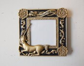 Unicorn Picture frame, Vintage Gold and Blue Pewter Frame, Loved One Frame, With an everlasting love