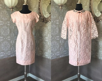 Vintage 1960's Pale Pink Lace Dress with Matching Lace Jacket Medium