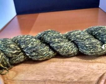 "alpaca silk sparkle yarn, worsted weight yarn ""Ray of sunshine"" 220yds"