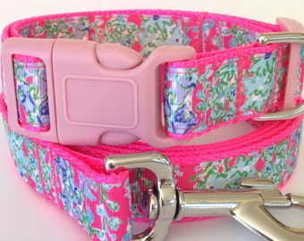 Southern Charm Lilly Pulitzer Inspired Collar and Leash  / Lilly Pulitzer Southern Charm Adjustable Coordinating Set