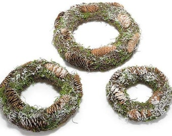 Wreath Natural with Pine Cones Set of 3