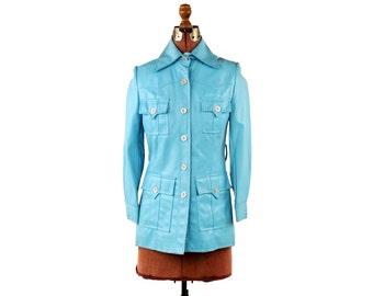 Vintage 1970's Pale Baby Sky Blue Envelope Pockets Faux Leather Pleather Retro Mod Coat Jacket S M