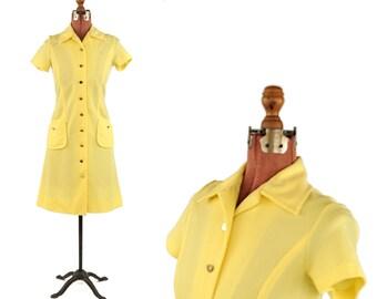 Vintage 1960's David Crystal Bright Sunny Yellow Mod Shift Scooter Retro Pocket Dress S