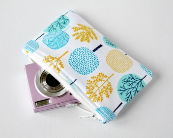 Woman's retro tree travel pouch gadget padded camera pouch woodland print in aqua blue, mustard yellow and white.