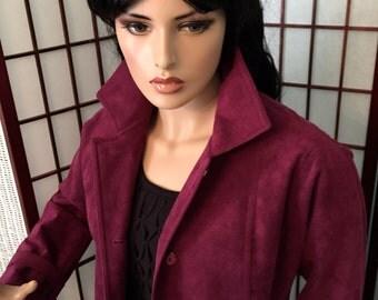 Vintage Count Romi Ltd. Purple Suede Coat All Weather Traveler Trench Wine