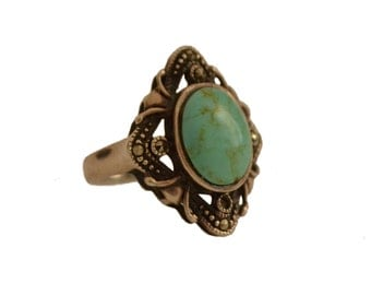 Vintage Cripple Creek Turquoise + Pyrite Sterling Silver Ring