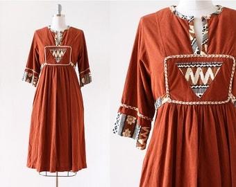 1960s dress / Bohemian Dress / 1960s Hippie Dress / Batik Dress / Rust Orange / 1960s Laurel Canyon Dress / Extra Small Small