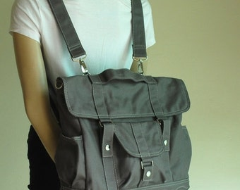 Back To School SALE - 30% Pico2 Backpack in Wax Dark Grey/ Shoulder Bag / Satchel / Rucksack / Messenger Bag / Diaper Bag/ School Bag/ Women