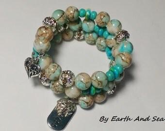 Wrap Mottled Crystal Filigree Brown Blue Yellow Jade Howlite Turquoise Wrap Bracelet