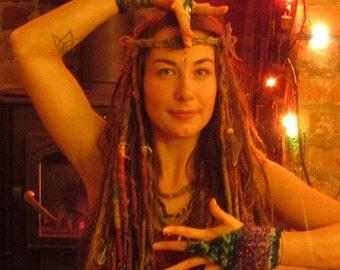SUPER SALE Felted Wrist Warmers Festival Sea Mermaid Cuffs Purple Blue Green Pixie Gloves Fingerless Felt Mittens Crochet Wool Forest