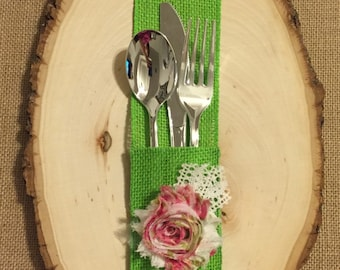 Lime Green Burlap Silverware Holder with floral print fabric flower - Set of 4 Easter Spring Summer wedding