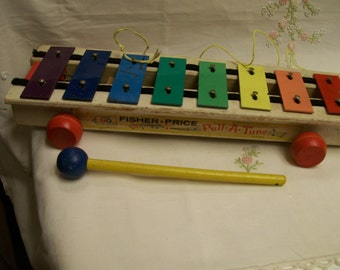 Fisher Price Xylophone Pull a Tune Vintage Wood 1960s Musical Toy #870