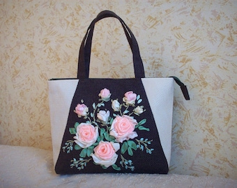 Embroidered ribbons  bag floral women gift