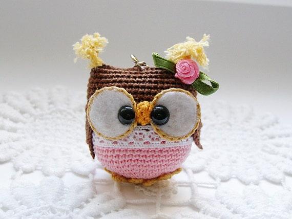 Amigurumi Owl Keychain : Owl keychain crochet owl key chain amigurumi owl toy bag ...