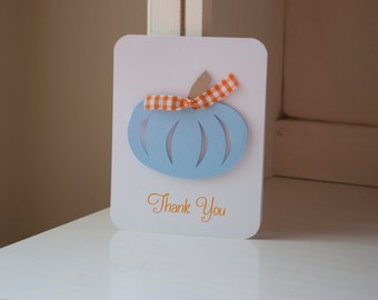 Pumpkin Baby ShowerThank You Notes Boy Baby Blue and Orange Gingham Invitations Fall Themed Autumn
