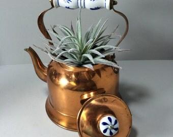 Copper Tea Kettle, Teapot, Copper Tea Kettle with Ceramic Blue and White Handle Vintage Rustic Teapot