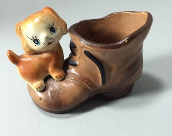 Enesco Puppy on Shoe Boot Ceramic Toothpick Holder by Enesco #3381 Made in Japan, Air Plant Planter