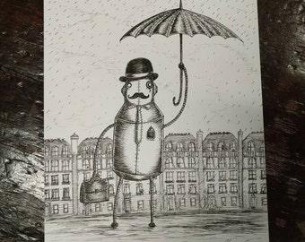 A Gentleman Always Carries An Umbrella - original pen and ink robot drawing