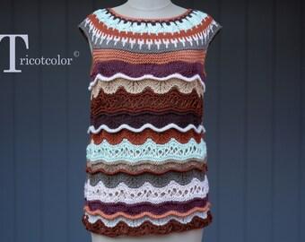 Débardeur femme tricot main