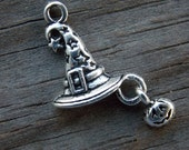 10 Witch Hat Charms with Tiny Pumpkin Dangle 25mm Antiqued Silver