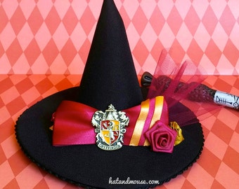 Lion Wizarding House Crest Mini Witch Or Wizard Hat In Gold and Burgundy